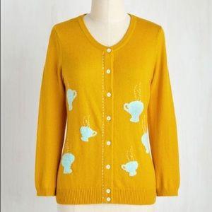 Modcloth yellow teacup cardigan